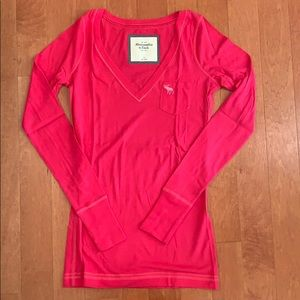 abercrombie and fitch long sleeved pink shirt. S